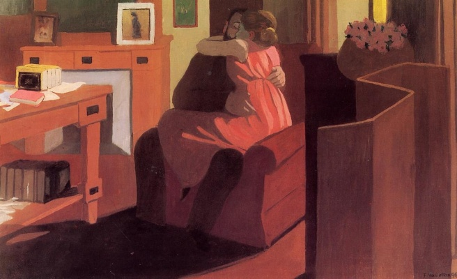 Felix Vallotton Interior with Couple and Screen - Intimacy