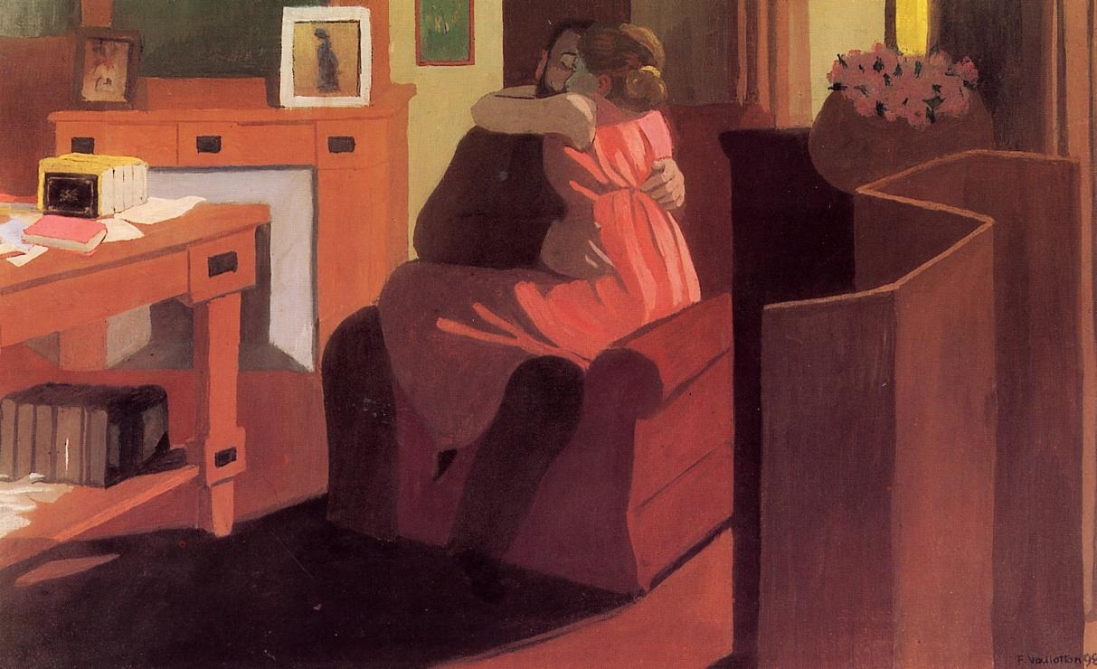 Vallotton Interior with Couple and Screen - Intimacy